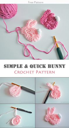 Simple & Quick Bunny Crochet Free Pattern #freecrochetpatterns #easterbunny
