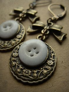 ButtonArtMuseum.com  - Antique Porcelain Button & Brass Earrings