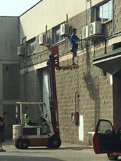 No, just no! Use appropriate equipment!  http://www.goodtogosafety.co.uk/Equipment/Forklift-Work-Platform