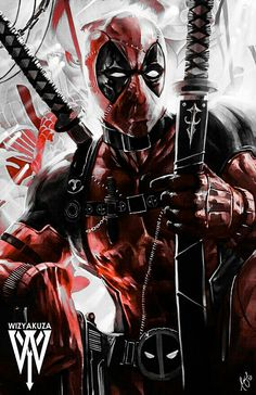 Deadpool by Wizyakuza Marvel Deadpool Movie, Deadpool Art, Marvel Comics Superheroes, Marvel Art, Marvel Heroes, Deadpool Wallpaper, Avengers Wallpaper, Spiderman Art, Marvel Comic Universe