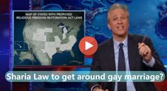 Jon Stewart used tactful ridicule to illustrate the lengths Right Wing legislatures would go through to discriminate against gay marriage.