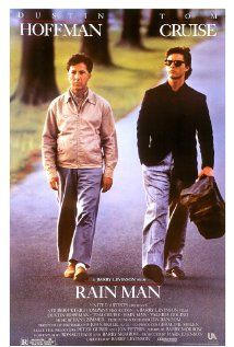 Rain Man Poster: I'll always remember this film because I was an extra and watched Dustin Hoffman and Tom Cruise do the final seen from 2 feet away. Film Movie, Film Gif, See Movie, Movie Cast, 80s Movies, Cult Movies, Video Film, Rain Man Film, Tom Cruise