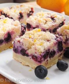 dessert recipes 66991113184501879 - Blueberry Lemon Pie Bars ~ Creamy and sweet pie bursting with blueberries and citrusy lemon on top of shortbread crust. In portable bar form!