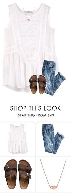"""{for some reason I have been obsessed with white}"" by southerngirl03 ❤ liked on Polyvore featuring MANGO, J.Crew, Birkenstock and Kendra Scott"