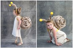 DIY a super cute snail costume for your kiddo this Halloween. Homemade Halloween Costumes, Halloween Costumes For Girls, Halloween Kids, Children Costumes, Halloween Stuff, Halloween Makeup, Funny Kid Costumes, Up Costumes, Costume Ideas