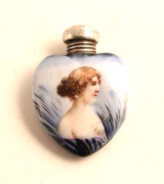 1903 Art Nouveau Sterling Silver Porcelain Scent Bottle Perfume Flask