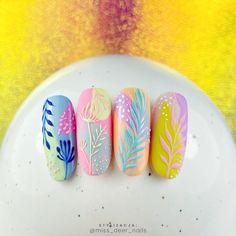 Plant decoration using Think Spring spring colors and irreplaceable . Perfect Nails, Gorgeous Nails, Trendy Nails, Cute Nails, Nail Art Printer, Nail Drawing, Nail Art Designs Videos, Indigo Nails, Rainbow Nails
