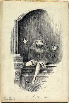 Complete illustration of Alice from Alice Through the Looking Glass, 1945, Peake Estate by Eye magazine, via Flickr