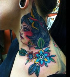Awesome choice for tattoo on the neck! #tattoo #tattoos #ink