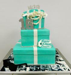 Breakfast at Tiffany's themed Sweet 16 cake