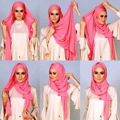 This is an easy beautiful hijab look, tied back for a perfect front line and well secured to keep your hair covered and to keep the hijab from sliding. it suits every face shape as the hijab is well tightened against… Hijab Casual, Simple Hijab, Hijab Chic, Hijab Outfit, Square Hijab Tutorial, Pashmina Hijab Tutorial, Hijab Style Tutorial, Arab Fashion, Islamic Fashion