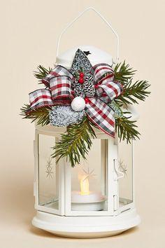 """8 """"H White Lantern con extraíble Holiday Decor Con esmerilado Verdes, un rojo, gris y blanco de la tela escocesa del arco y de la batería de té de luz:"""