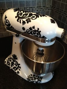 Kitchen Aid Vinyl Decals-Damask. $18.50, via Etsy.     HERES WHAT I HAVE BEEN LOOKING FOR!!!!!