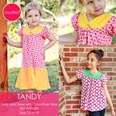 Tandy Knit Tunic and Dress PDF Downloadable Pattern by MODKID... sizes 2T to 10 Girls included - Instant Download