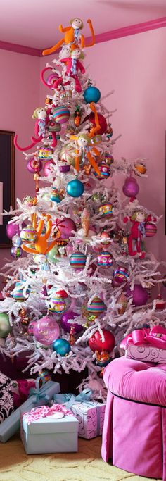 Colorful Decor on a White Christmas Tree
