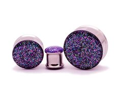 Mystic Metals Body Jewelry Black Acrylic Embedded Dichroic Glass Plugs Sold as a Pair