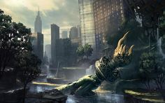 Ruins postapocalyptic new york city statue of liberty flooded 1920x1080 wallpaper