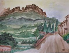 Tuscan Hills Original Signed Watercolor by justforfunbyjodi, $50.00