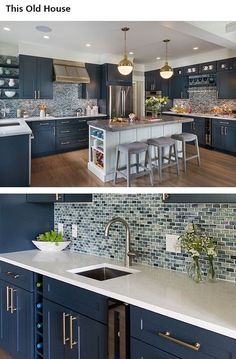 Luxury kitchen: 65 photos of projects to inspire - Home Fashion Trend Kitchen Room Design, Kitchen Cabinet Design, Kitchen Redo, Modern Kitchen Design, Living Room Kitchen, Home Decor Kitchen, Interior Design Kitchen, Home Kitchens, Kitchen Remodel