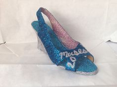 Pink, blue and silver shoe