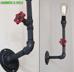 Fire valve pipe sconce by Hammers & Heels