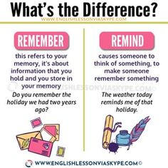 ♥️REMEMBER vs REMIND...2 English verbs that often get confused. I remember that book, it was really good. But I don't remember who wrote it. I reminded him to buy a present for his mother because it's her birthday. * Please remember to like and follow and to click on the link in my bio ⬆️⬆️ to find out more about the lessons and courses I offer.