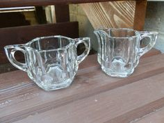 Vintage pressed glass creamer and sugar set by GallatinStreet