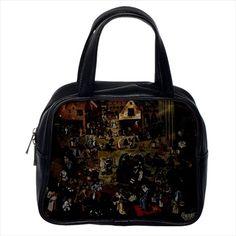 The Battle Between Carnival And Lent Pieter Bruegel Leather Sling & Women's Bag