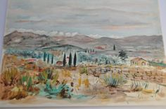 Antique French Painting, Watercolor Landscape, Vintage French Country Decor Art, Wall Hanging, Pastel Mountains Provence, Made in France by FrenchArtAntiques on Etsy