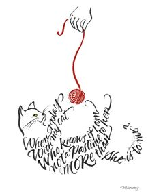 """""""Cat"""" by Jeanne McMenemy. Original brush calligraphy done in Chinese stick and gouache on paper."""