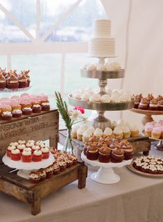 Eclectic Cupcake Dessert Assortment with Flowers