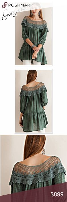 ‼️COMING SOON‼️ Checked pattern woven drop waist tunic featuring crochet lace appliqué on the shoulder.  Pockets in front, elasticized sleeve cuff.. Semi-Sheer, and lightweight. Color is Dusty Sage. Boutique Tops Tunics