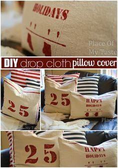 PlaceOfMyTaste: DIY DROP CLOTH PILLOW COVERS