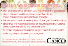 Interest in essential oils and their healing ability is at an all-time high, and rightfully so! They have incredible healing benefits. Here are 6 ways to use citrus essential oil for cancer prevention! Article by Marnie Clark. Please re-pin to share with your friends! // The Truth About Cancer