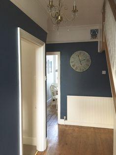 Blue Hallway, Hallway Paint, Hallway Colours, Hallway Flooring, Room Paint, Stiffkey Blue, Small Hallways, Farrow Ball, Entrance Hall