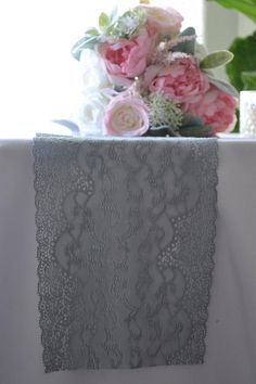 Items similar to Gray Lace Table Runner wide FTlength/ends Cut not hemmed/Smokey Gray color/Gray Wedding Decor/Free swatch available/Reception on Etsy Lace Runner, Lace Table Runners, Grey Wedding Decor, Wedding Decorations, Wedding Ideas, Pewter Color, Gray Color, Grey Table, Wedding Reception Tables