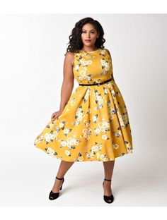 Plus Size 1950s Style Yellow & Floral Print Hepburn Swing Dress