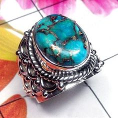 Blue Copper Turquoise, Gemstone Ring, Women Wedding Ring, Best Sale Ring, Cocktail Ring, Statement Ring,