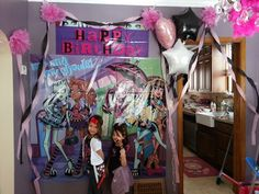 Back drop $6 at Party City, added streamers, pom poms, and balloons from the Dollar Store, I purchased enough so that each guest also received a balloon at the end of the party. #Monster High