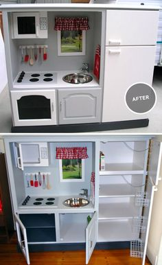 Toy kitchen made from old entertainment center- with all those flat screens, no need for these anymore, turn it into a toy kitchen.