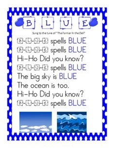 Fun Color Song Posters Learn how to SPELL the Color Words