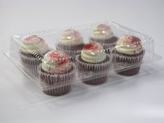 6 Cavity Cupcake Containers with Standard Lid - Cupcake Supplies, Small Cake, Creative Decor, Cavities, Let Them Eat Cake, Mini Cupcakes, Frosting, Catering