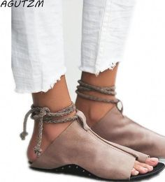 Buy 2018 New Brand Women New Fashion Frauen Sandalen Flat Ankle Strap Exposed Toes Peep Toe Sandals Classic Shoes Sandali Donna Plus Size at Wish - Shopping Made Fun Womens Shoes Wedges, Womens Flats, Leather Gladiator Sandals, Ankle Strap Flats, Girls Shoes, Shoes Women, Women Sandals, Ladies Shoes, Fashion Flats
