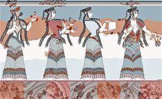 #Βαλκάνια #Ελλάδα #Ελλάς #Βοιωτία #Θήβα, #τοιχογραφία από το #Καδμείο με #γυναίκες, #Πομπή #τελετή η #γιορτή;