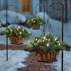 SALE Gold Silver Ornament Pre Lit Christmas Hanging Basket w/Stand Outdoor Christmas Hanging Baskets, Outdoor Christmas Planters, Front Door Christmas Decorations, Christmas Greenery, Christmas Porch, Farmhouse Christmas Decor, Christmas Centerpieces, Country Christmas, Christmas Holidays