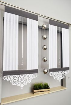 Hit panel toscania ii z ażurem + kryształ - Curtains Home Curtains, Curtains With Blinds, Kitchen Curtains, Elegant Curtains, Modern Curtains, Kitchen Models, Interior Stairs, Curtain Designs, White Furniture
