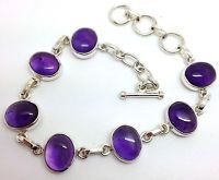 Amethyst Gemstone cabochon Solid Sterling Silver Bracelet, New, Actual One, UK