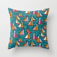 seagulls and sails bold Throw Pillow by sharon turner other products available