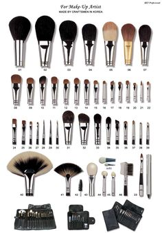 set of brushes and explanation of each. good to know.