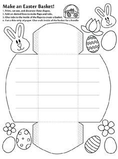 Printable Coloring Pages For Kids Paper Easter Basket Template Easter Coloring Pages, Free Coloring Pages, Kids Coloring, Printable Coloring, Coloring Sheets, Easter Art, Hoppy Easter, Easter Projects, Easter Crafts For Kids